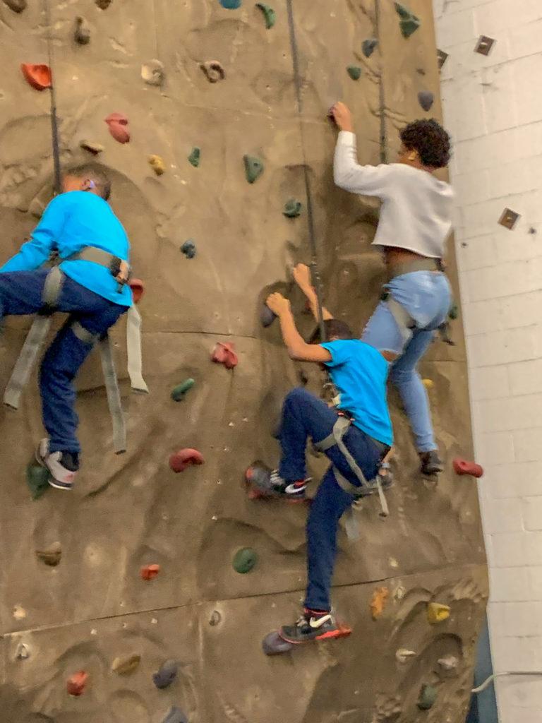 Kids rock climbing in Rowan County