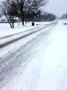 Iced over road in Rowan County