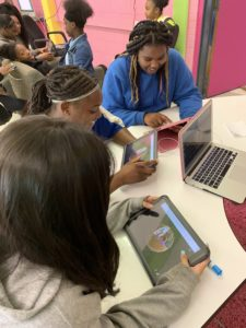 Middle school students learning through technology