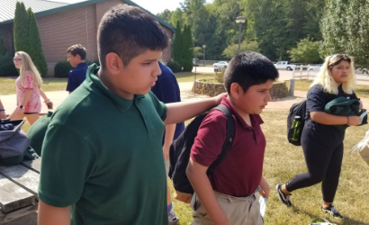 two boys at Southeast Middle School participating in the Best Buddies program