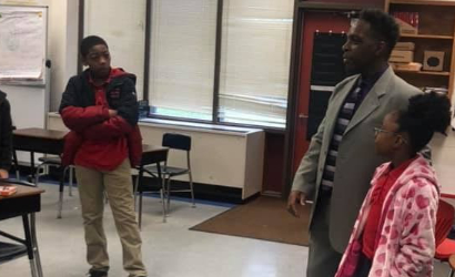 Timothy Bates interacting with students at one of the programs in Rowan County