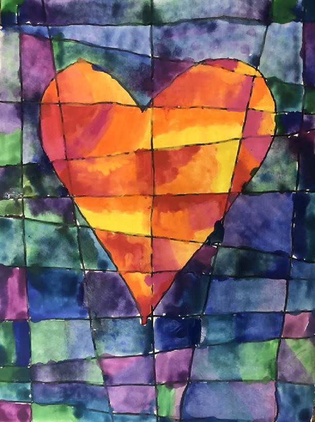 abstract painting of a heart shape