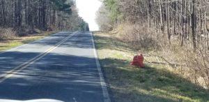 litter cleanup bag alongside road