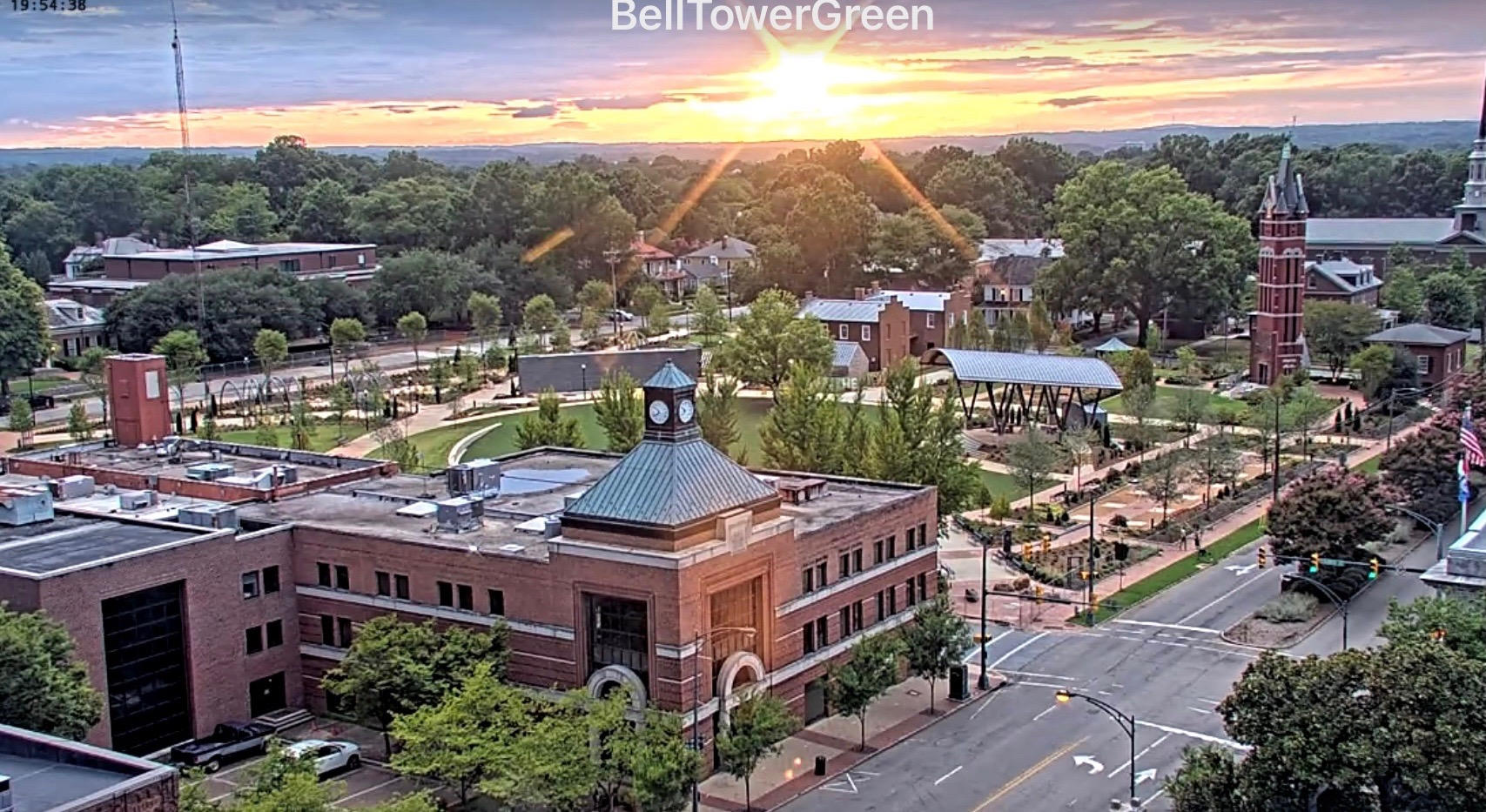 An overview of Bell Tower Green from above West Innes St.